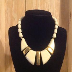 Napier Gold Tone Ivory Chunky Necklace